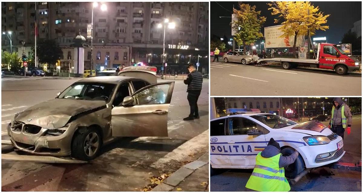News UMPMV-Un BMW a spulberat mașina Poliției, în centrul Bucureștiului. Autospeciala a ajuns într-un panou publicitar